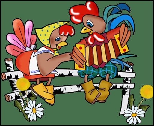 Петух и курица на завалинке