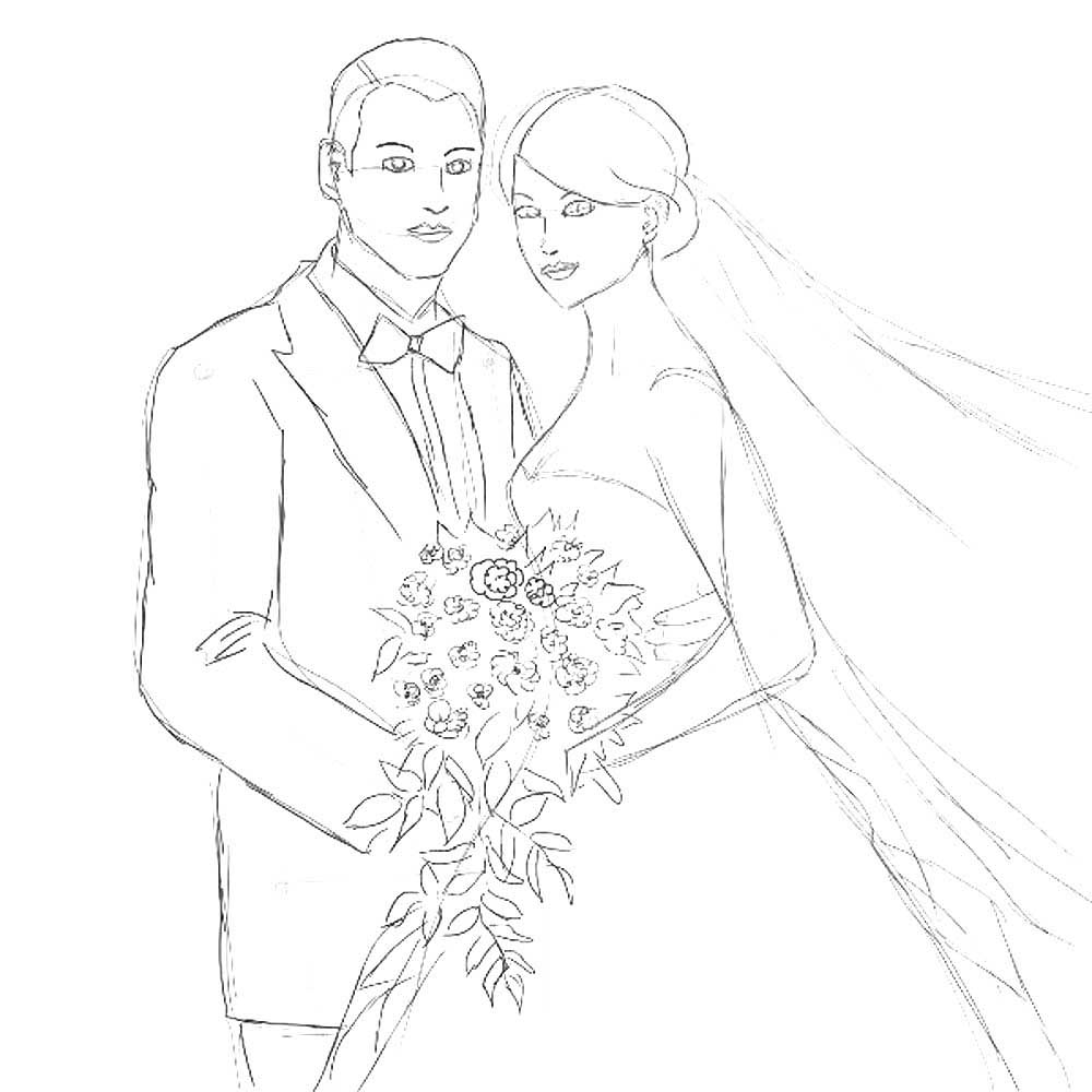 жених и невеста с цветами