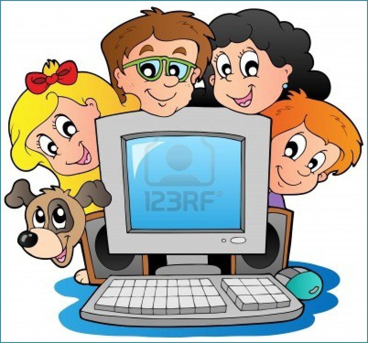 На картинке дети, родители, собака и компьютер