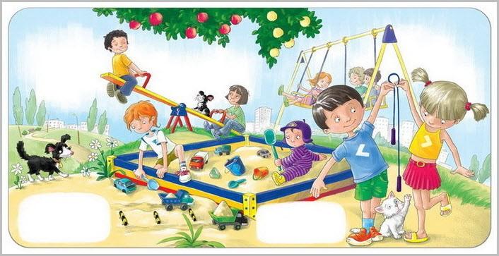 Детская площадка с песочницей на картинке