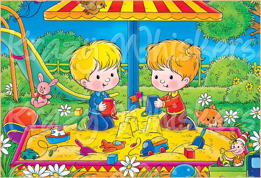Цветная картинка с детьми в песочнице
