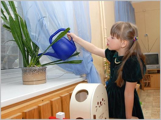 Девочка поливает цветок на подоконнике