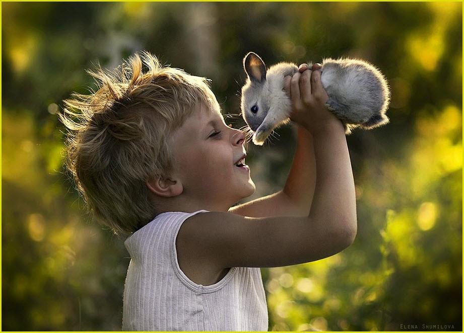 Мальчуган с крольчёнком