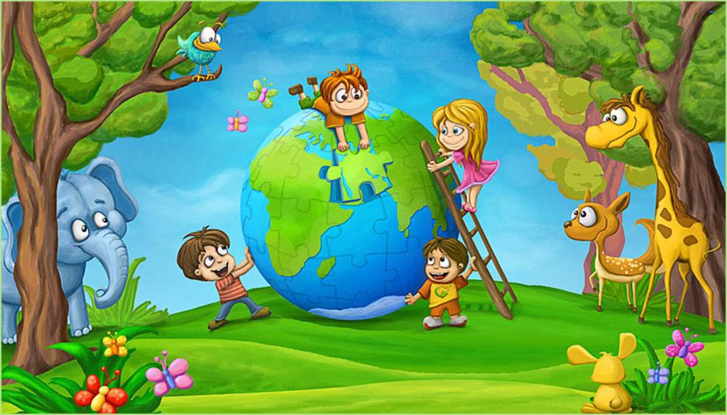 Картинка с детьми и земным шаром из пазлов