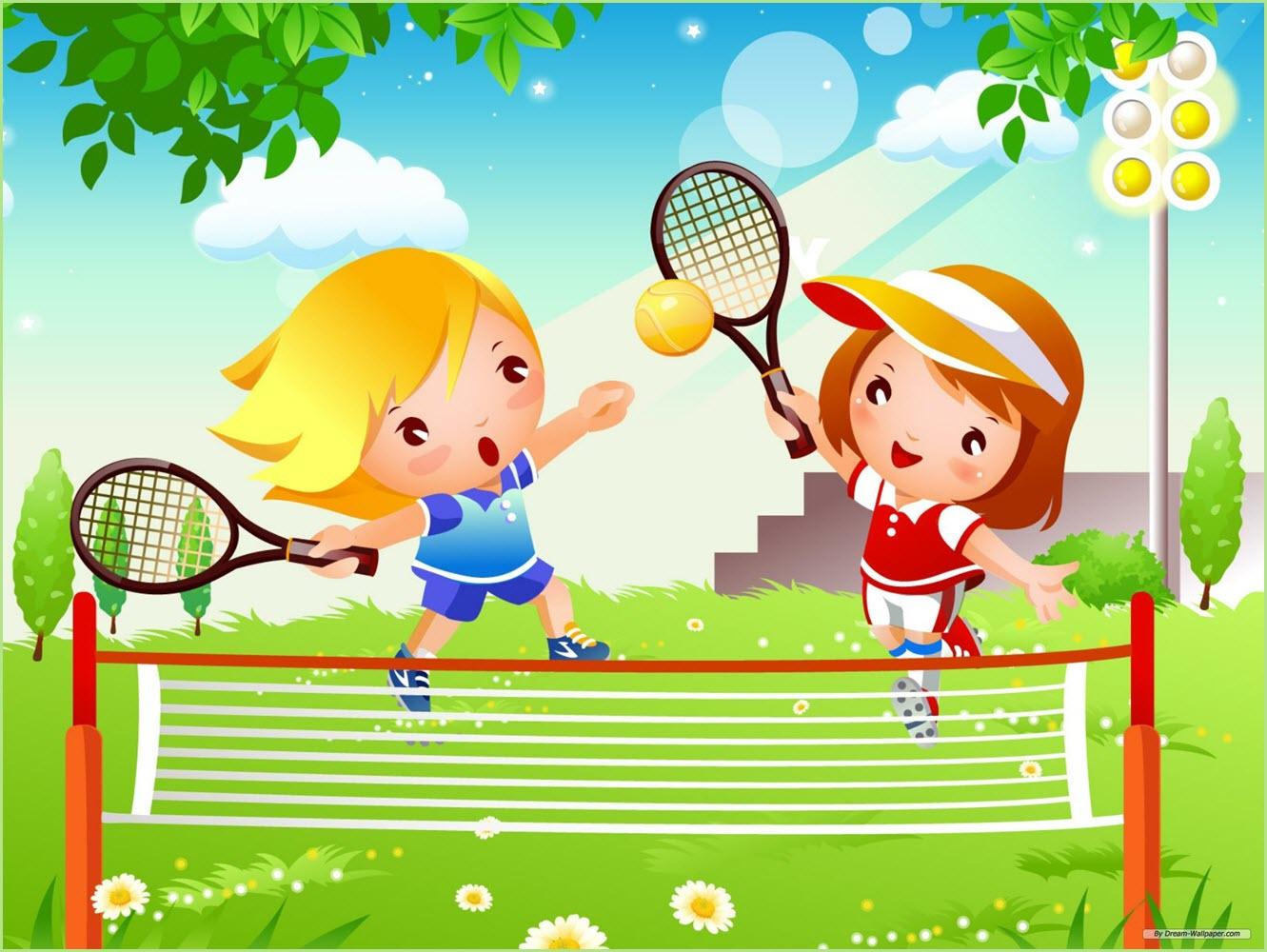 На картинке дети играют в теннис