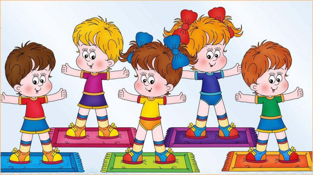 Дети в детском саду делают зарядку