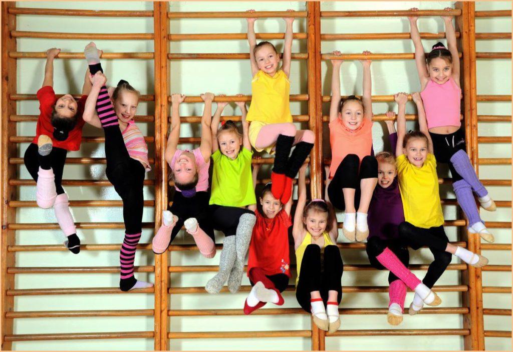 Спортивные девочки на шведской стенке