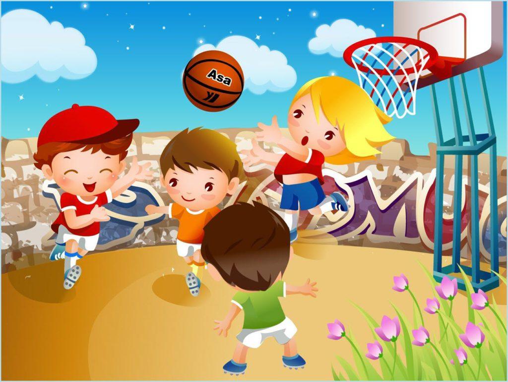 Дети играют в баскетбол