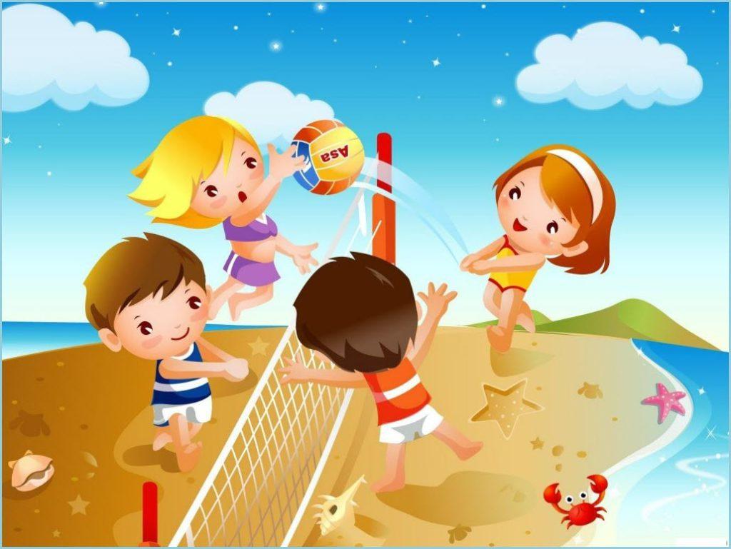 На картинке дети играют в пляжный волейбол