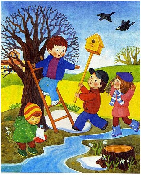 Картинка с детьми весной