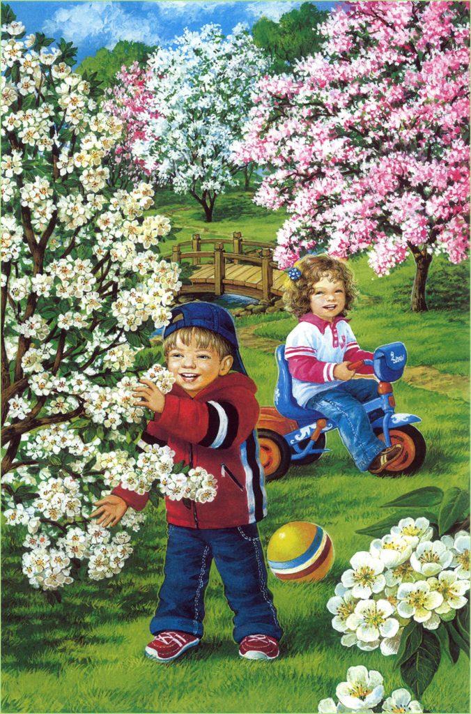Картинка с детьми в саду