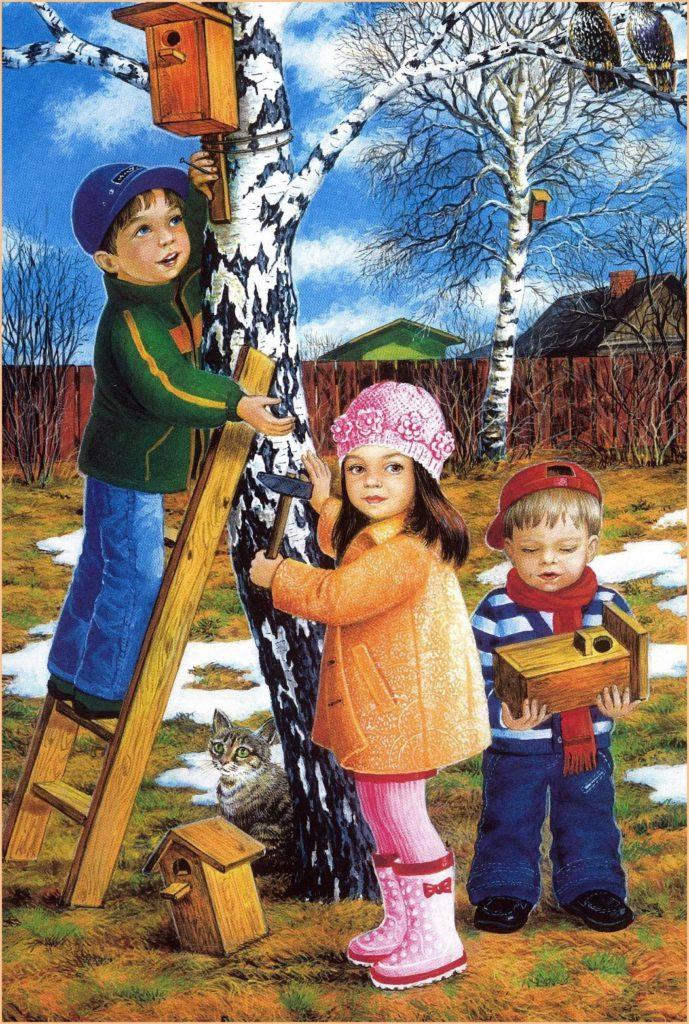 На картинке дети вешают скворечник