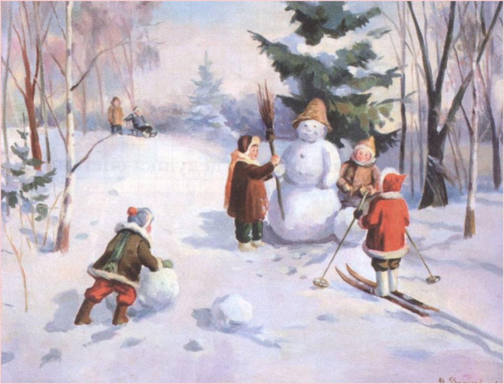 Славная картинка со снеговиком