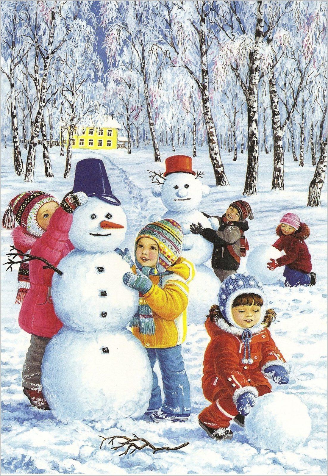 На картинке дети и два снеговика