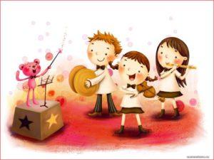 Дети на картинке ирают на инструментах