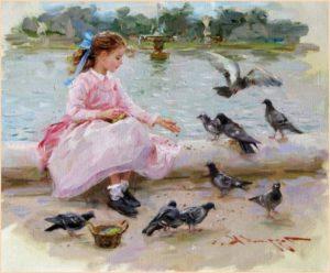 Картинка с девочкой и голубями