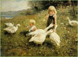 Девочка с мальчиком пасут гусей