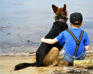 Мальчик с собакой у реки