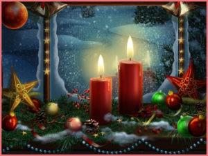 рождественские свечи горят