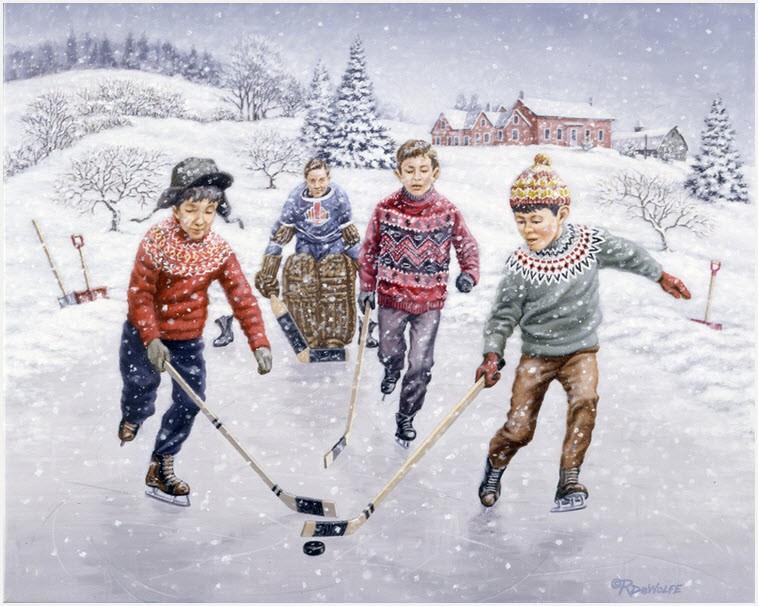 Мальчишки играют в хоккей