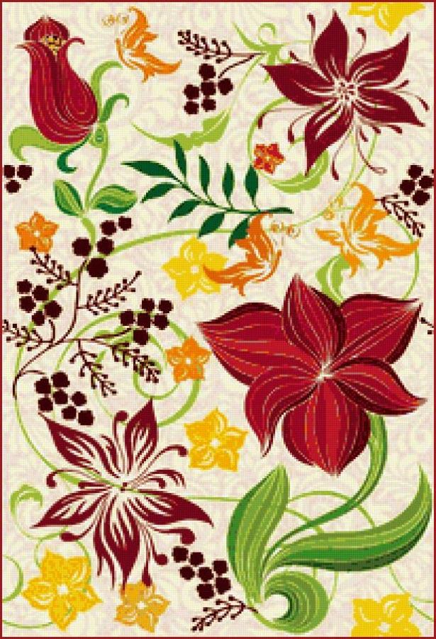 Узор цветы и листья