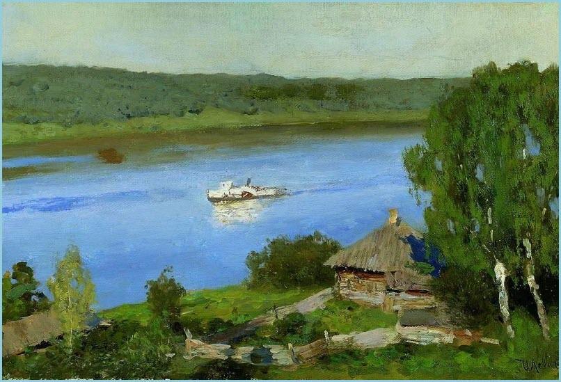Пейзаж с пароходом