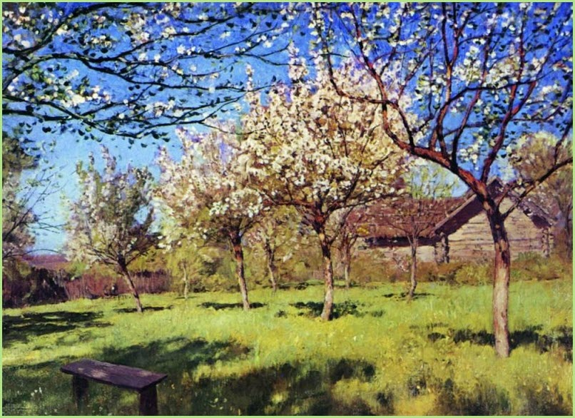 Цветущие яблони картина