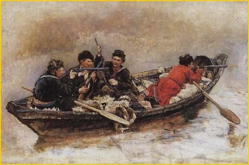 Казаки в лодке картина