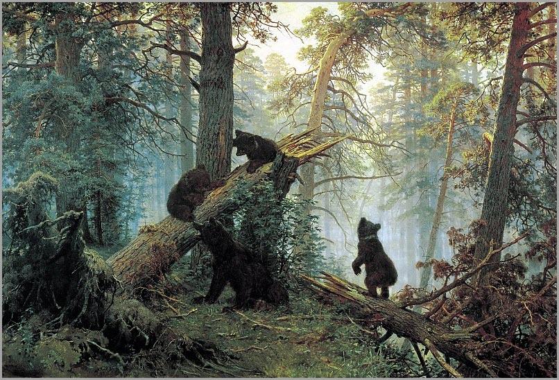 Утро в сосновом лесу картина