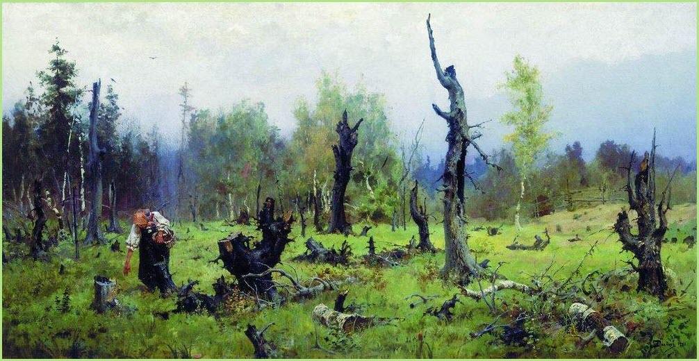 Горелый лес картина