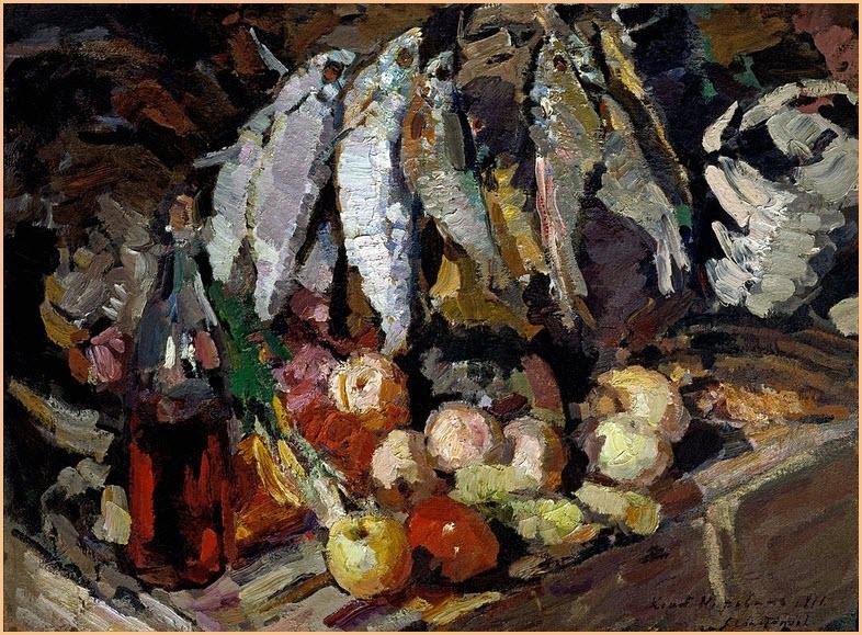 рыбы вино и фрукты