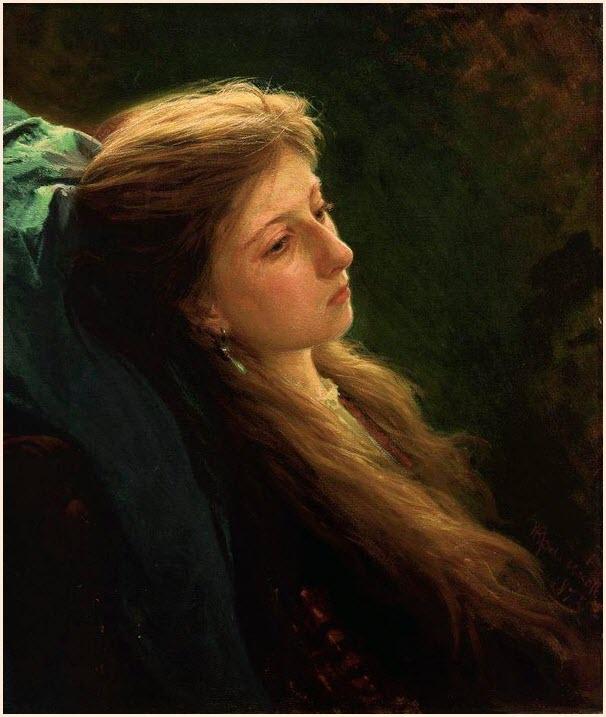 Девушка с распущенной косой картина