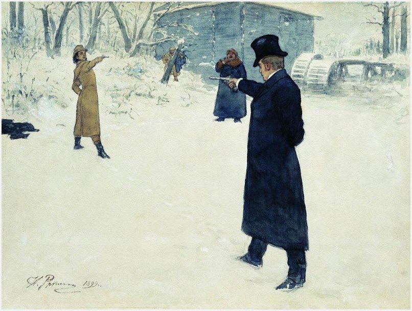 Дуэль Онегина и Ленского картина