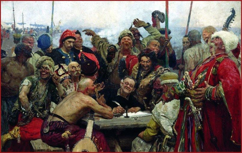 Запорожцы пишут письмо турецкому султану картина