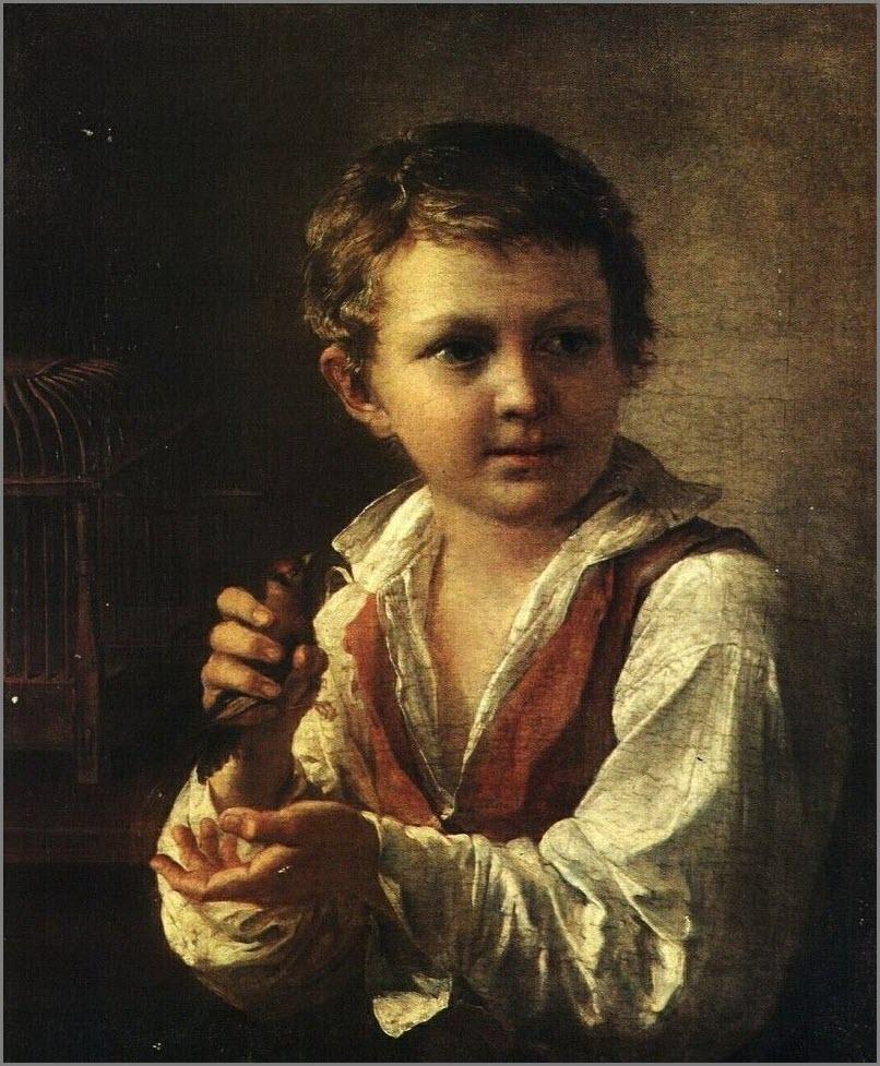 Мальчик со щеглом