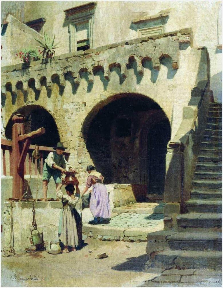 Итальянский дворик картина