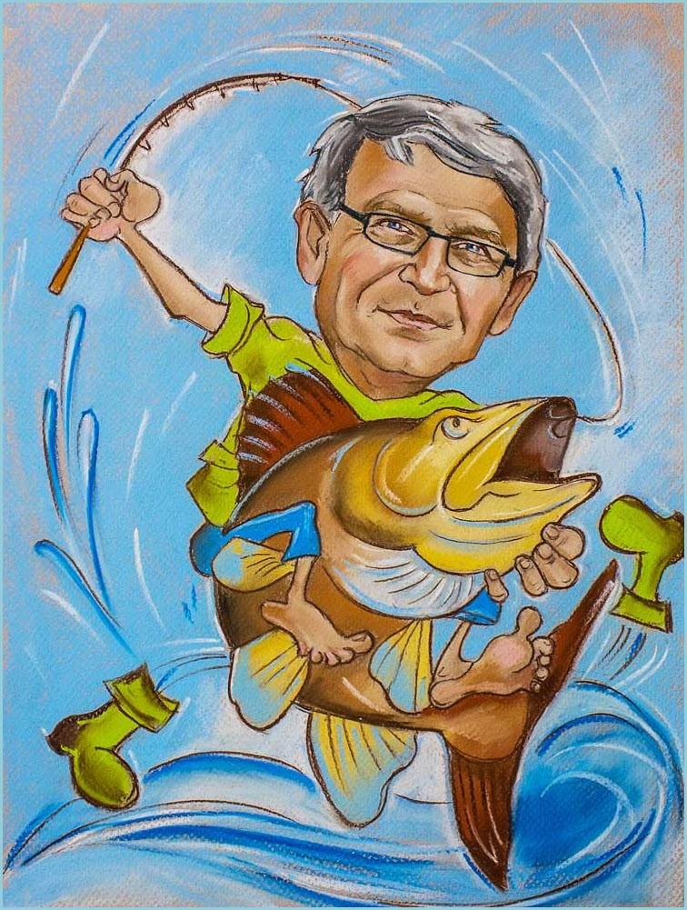 Шарж на рыбака