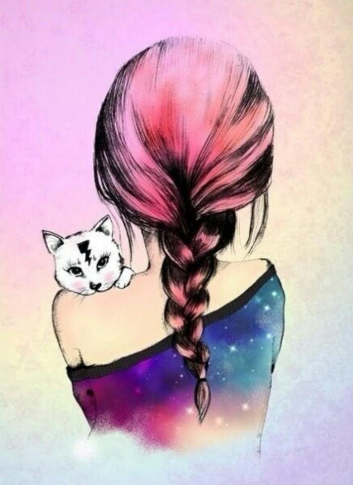 Девушка с котом на аву