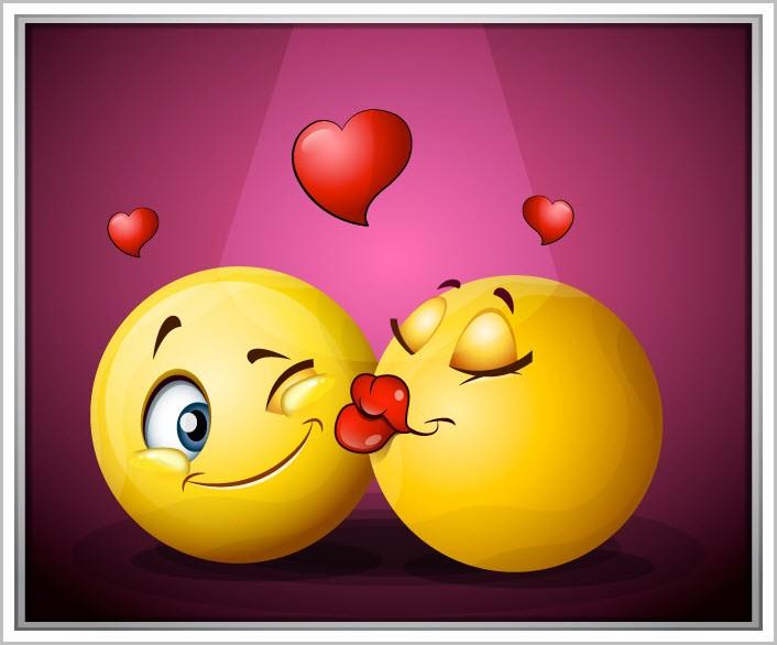 Смайлики целуются