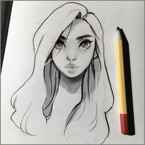 Грустная девушка для срисовки