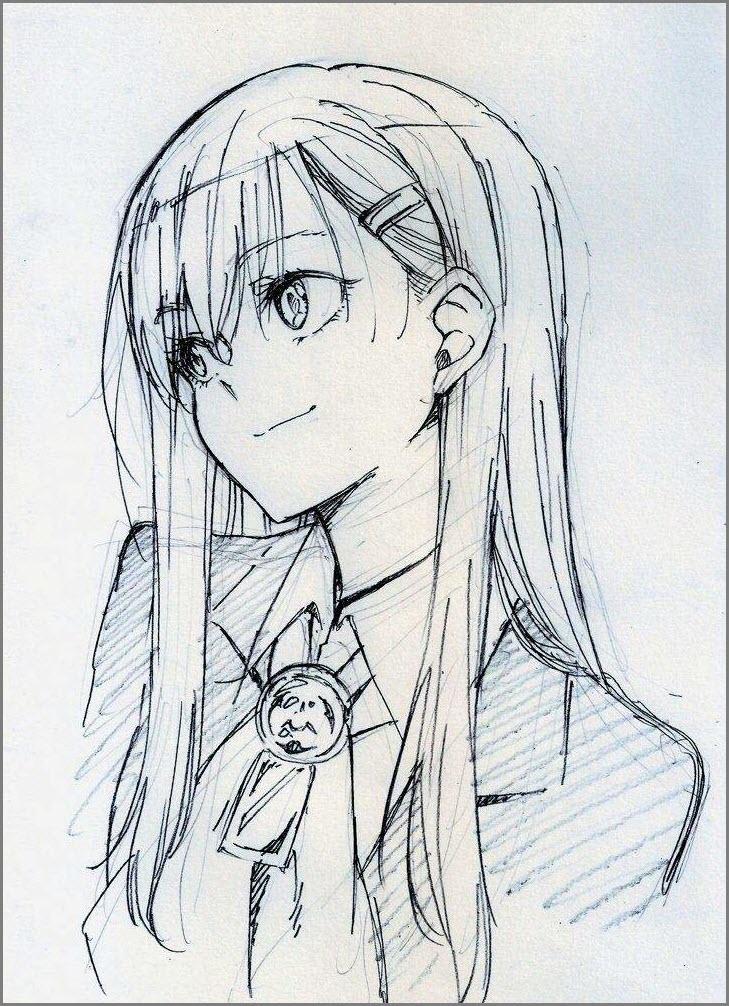 девушка для срисовки карандашом