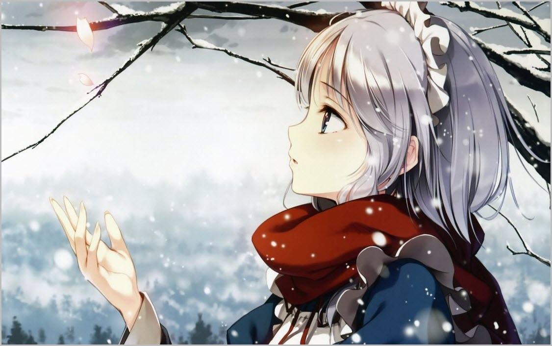 девушка аниме зимой
