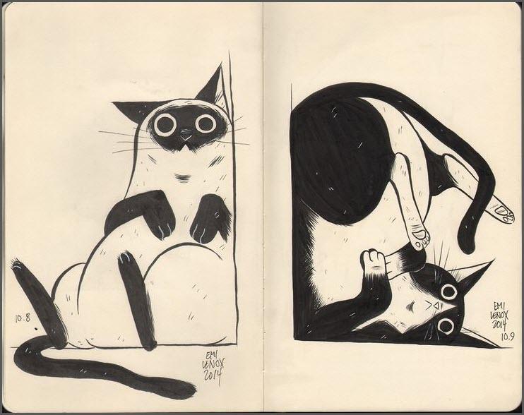 скетчбук кот