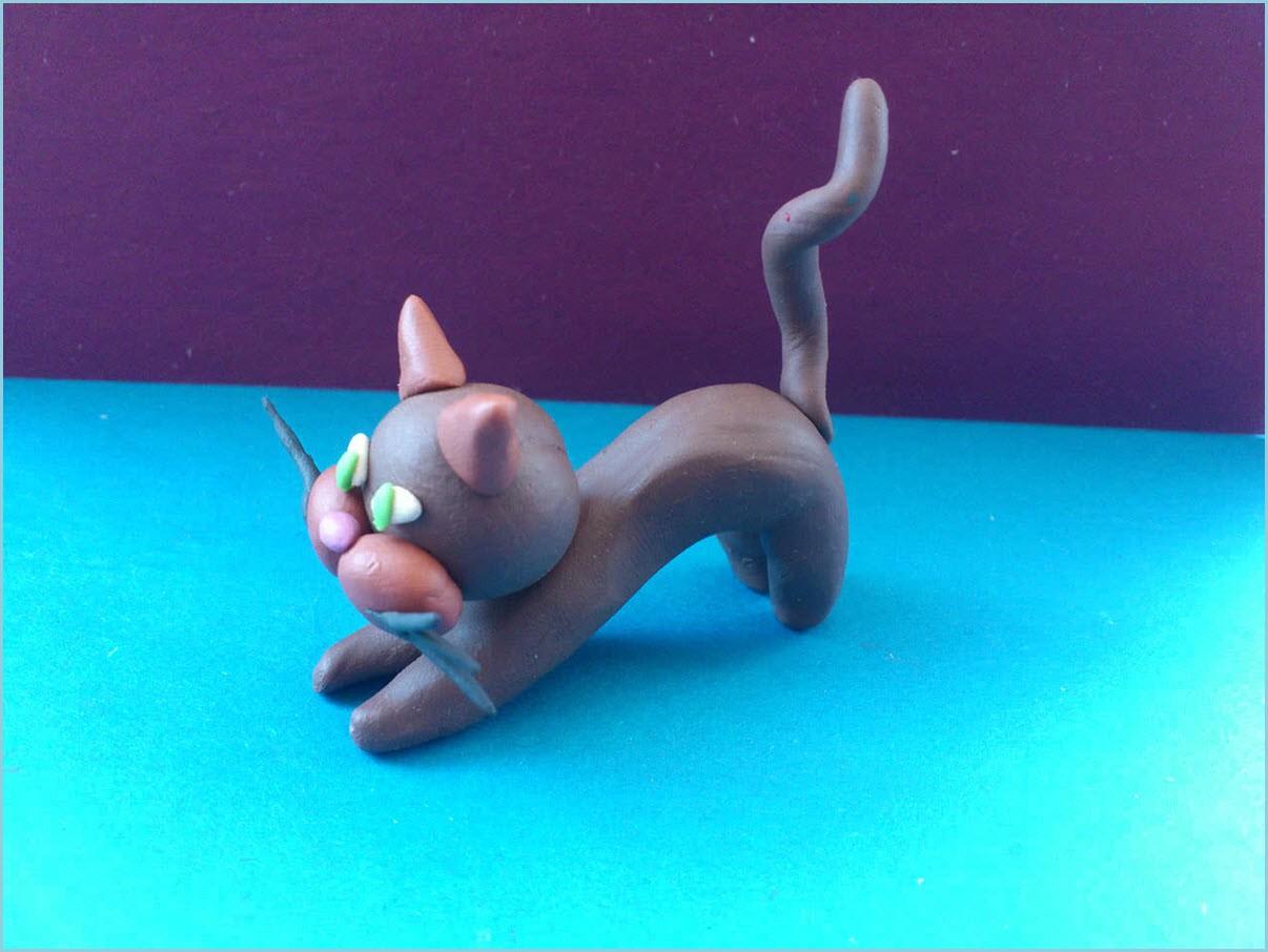 Кошка из пластилина 4