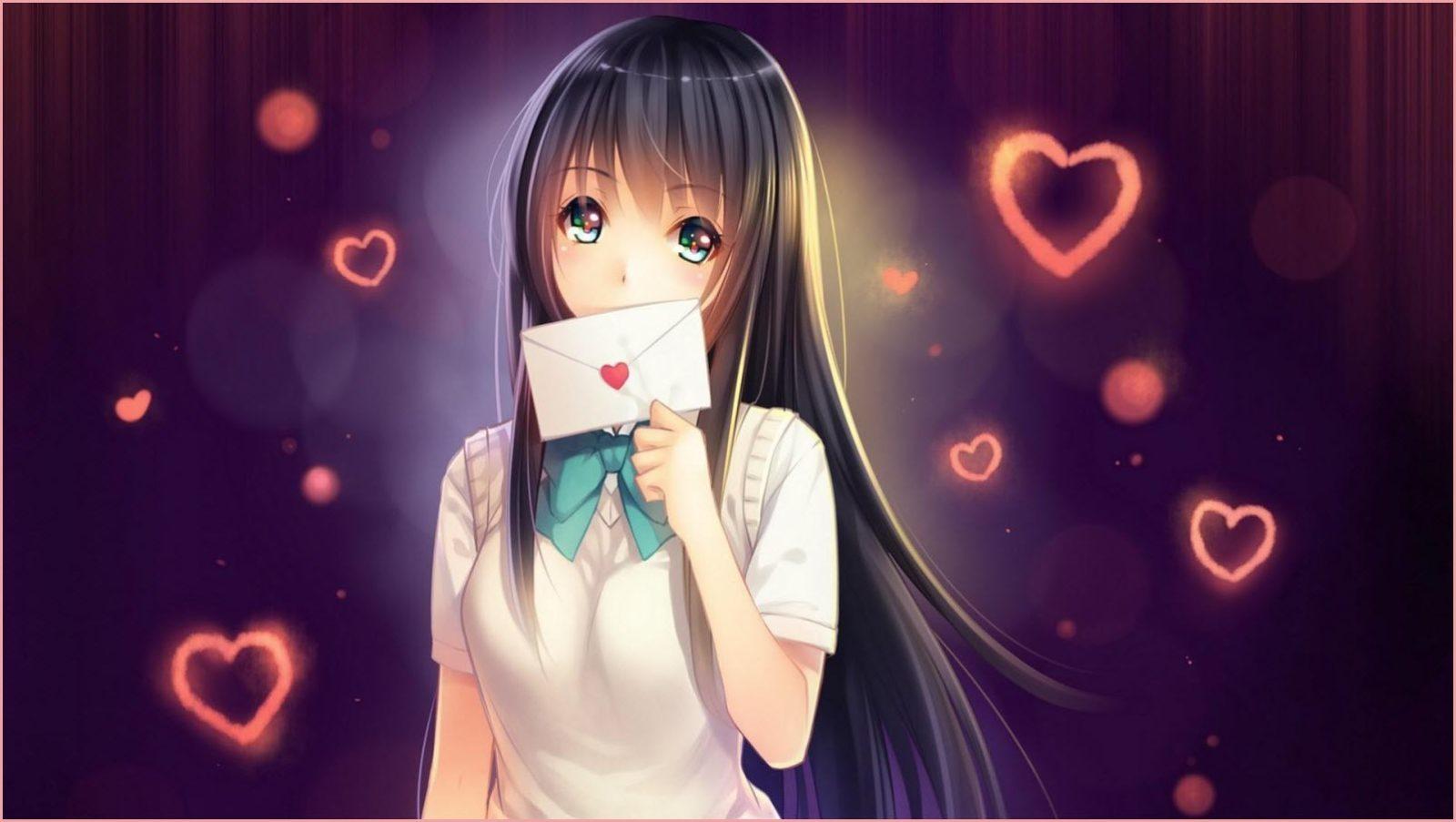 девушка аниме с письмом