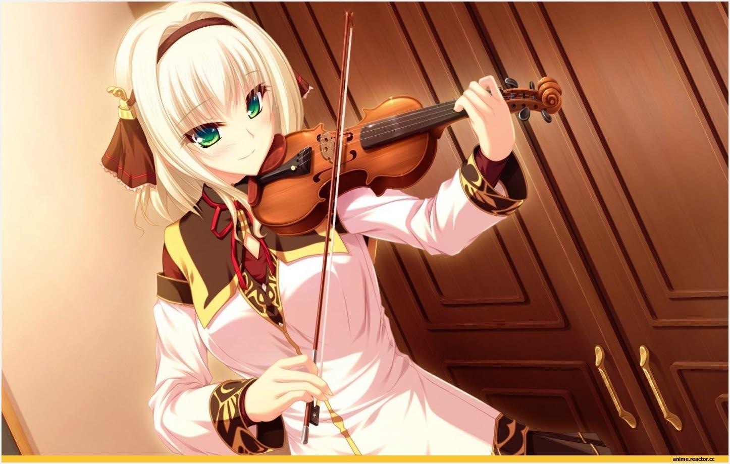 девушка аниме арт со скрипкой