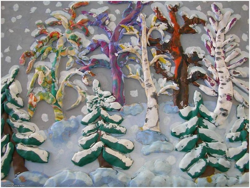 пластилинография зима