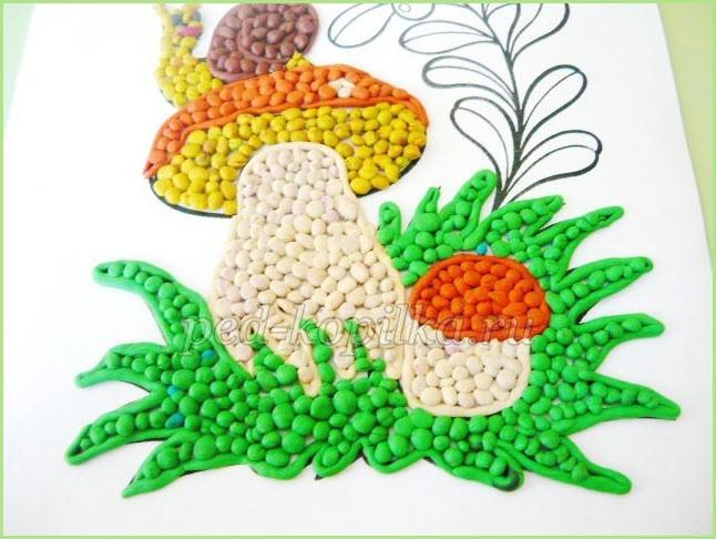 пластилинография грибы