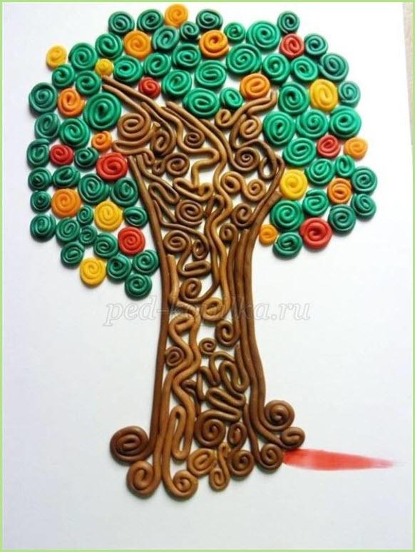 пластилинография дерево