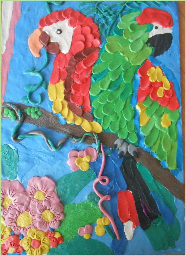 Попугай из пластилина 3